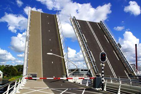 drawbridge: Picturesque industrial landscape with drawbridge. Zaandijk, Holland