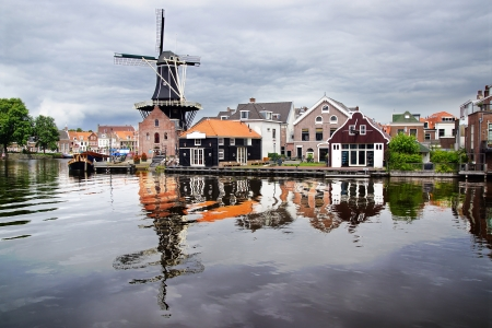 Picturesque landscape with windmill. Haarlem, Holland