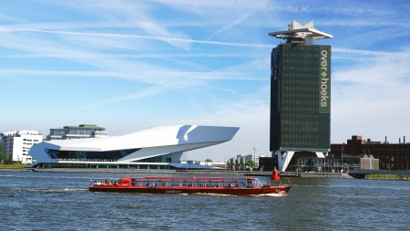 film industry: EYE Film Institute and Overhoeks Tower in Amsterdam.