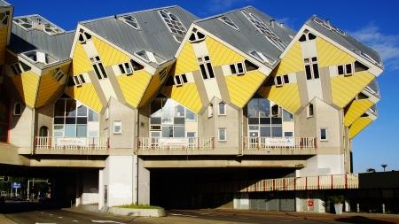 Kubuswoningen, of kubuswoningen in Rotterdam, Nederland Redactioneel