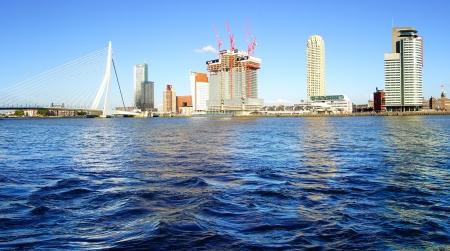 rotterdam: Panoramic view over Erasmus Bridge and Rotterdam port.