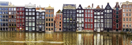 dutch landmark: Row of Traditional houses of Amsterdam, Holland.