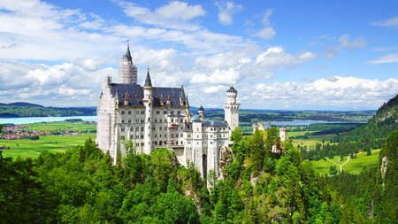 hill of the king: Picturesque nature landscape with Neuschwanstein Castle. Germany