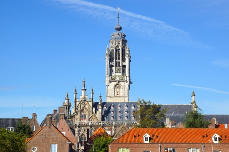gothic church: Panoramic views of the Town Hall  Stadhuis, Middelburg Stock Photo