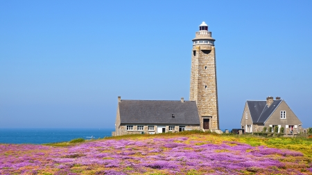 Lighthouse on Cap Levi Fermanville  Brittany, France  photo