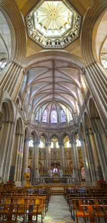 church window: Luxurious interior of Cathedral in Coutances  France Editorial