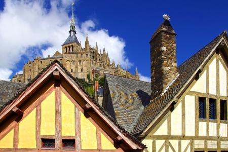mont saint michel: Landscape with Mont Saint Michel abbey  Normandy, France  Stock Photo