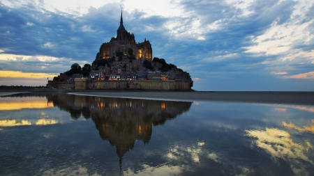 mont saint michel: Landscape with Mont Saint Michel abbey  Normandy, France  Stock Photo