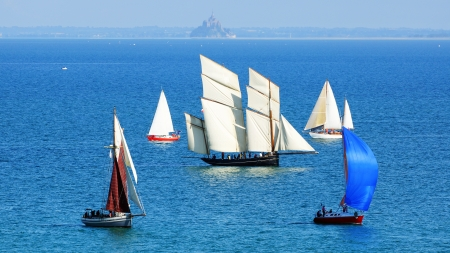 sailing crew: Ships in the Cancale Bay  Normandy, France