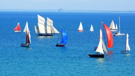 yacht race: Sailing Regatta in the Cancale Bay  Normandy, France