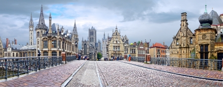 Panoramisch uitzicht op de stad Gent, België Stockfoto