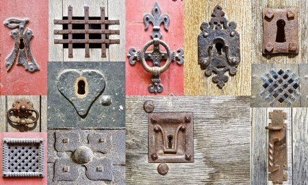 locked: Collage of the fragments old doors  France Stock Photo