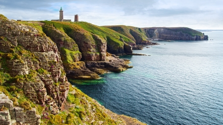 Panoramic view over Cap Frehel,  Brittany, France
