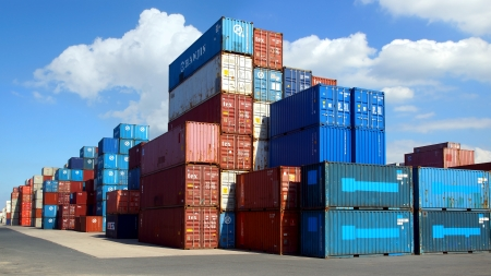 container port: Freight containers in the Le Havre port  France