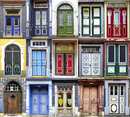 many doors: Collage of the Goslar doors.  Lower Saxony, Germany