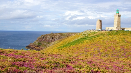 Panoramic view over Cap Frehel,  Brittany, France photo