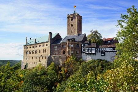 Landschap met Wartburg in Eisenach, Duitsland
