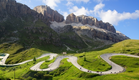 Picturesque Dolomites  landscape with mountain road  Italy