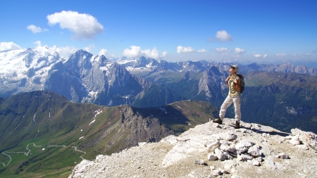 trekker: Picturesque mountain landscape with tourist  Dolomites, Italy
