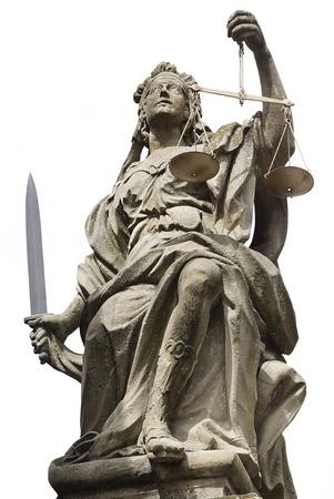 orden judicial: Estatua de la Justicia en Schloss Weikersheim, Alemania