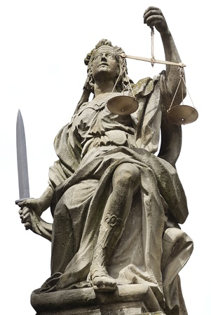 law scale: Statue of Justice in Schloss Weikersheim, Germany Stock Photo