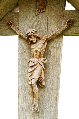 crucifixion: Old wooden Crucifix with figure of Jesus Stock Photo