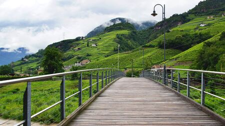Picturesque rural landscape with bridge  Bolzano, Italy photo