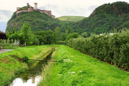 Picturesque rural landscape with castle  Bolzano, Italy photo