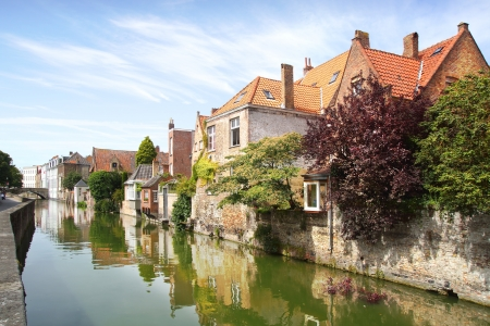 stone bridge: Panoramic view over the Canal, houses and bridges in Brugge