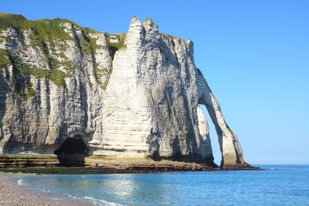 cliff edge: Chalk cliffs at Cote d Albatre  Etretat, France