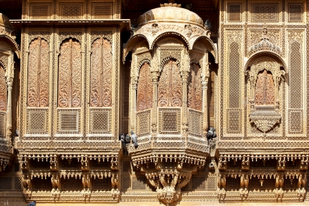 On the photo  Haveli-private mansion in India  Jaisalmer city