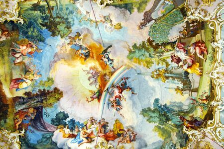 fresco: Interior of the Nymphenburg Palace  Munich, Germany