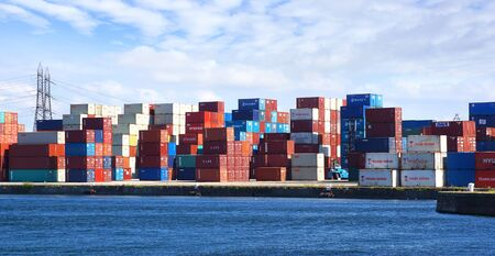 cargo container: Freight containers in the Le Havre port. France