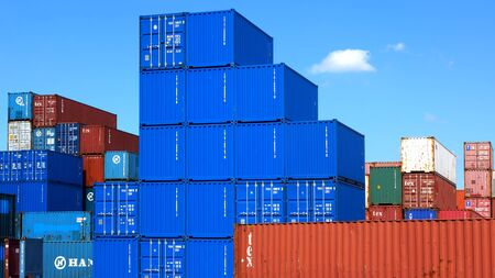 tetris: Freight containers in the Le Havre port. France