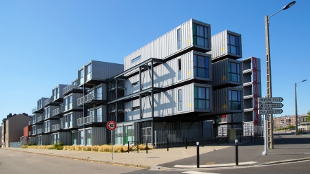 A hostel for students from containers. A new type of modular  and eco-friendly houses. The idea originated in the Netherlands and then was introduced to the Le Havre city; August 09, 2012 in Le Havre, France.  Editorial