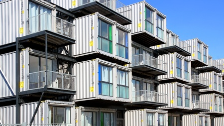 A hostel for students from containers. A new type of modular  and eco-friendly houses. The idea originated in the Netherlands and then was introduced to the Le Havre city; August 09, 2012 in Le Havre, France.  Editoriali