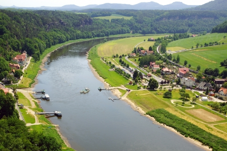 View from the Bastei on the river Elbe, Saxon Switzerland Stock Photo - 16146061