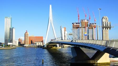 rotterdam: Panoramic view over Erasmus Bridge and Rotterdam port  Editorial