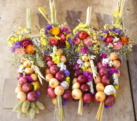trenzado: Grupo trenzado con cebolla, ajo y flores