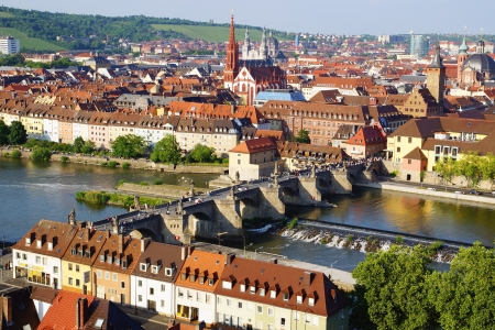 river main: Picturesque landscape with Wurzburg, old town  Germany