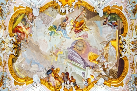 fresco: Fresco in Pilgrimage Church Wieskirche  Wies, Germany Editorial