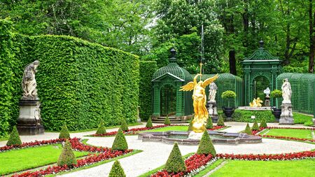 fairy garden: Landscape with Garden in Linderhof Palace. Germany