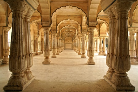Columned hall of Amber fort. Jaipur, India.