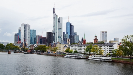 FRANKFURT,GERMANY-SEPTEMBER 26: View from the Eiserner Steg.Frankfurt is the business and financial center of Germany.The city is known for its futuristic skyline; September 26,2012 in Frankfurt,Germany