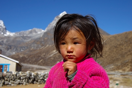 malnutrition: Young Nepali girl in Annapurna trail is well known for its trekking activities, Nepal November 02, 2008.  Editorial
