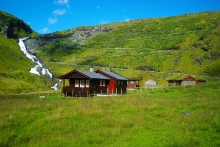 fishing huts: Picturesque nature landscape with hut. Norway