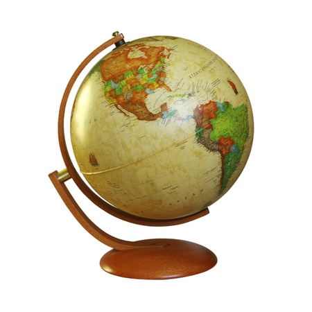 yellow earth: old retro globe isolated on white background