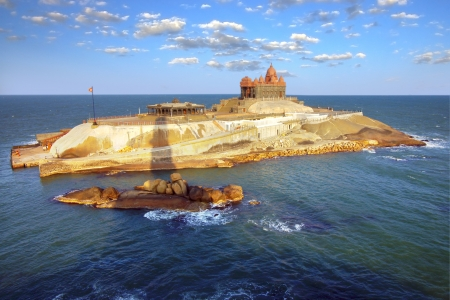 hindu temple: Island at ocean near Cape Comorin in Kanyakumari, the most southern point of india   Stock Photo