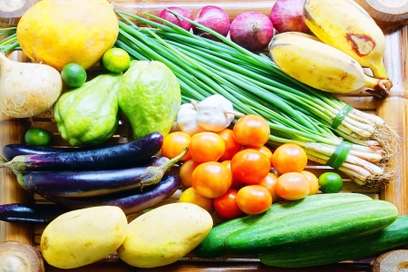 Tropical vegetables and the fruits closeup Stock Photo - 17312538