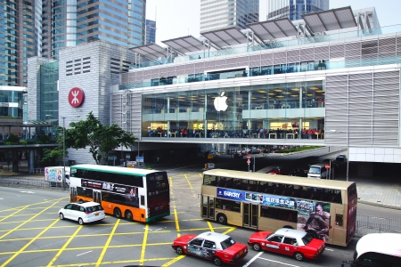 two floors: HONG KONG - DECEMBER 12 Apple Inc. opened its long-awaited first store in Hong Kong on 12 December, 2012. The store is located on two floors linked by a glass spiral staircase in Central district. Editorial